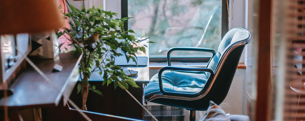 A working from home set-up including a desk, chair and plant
