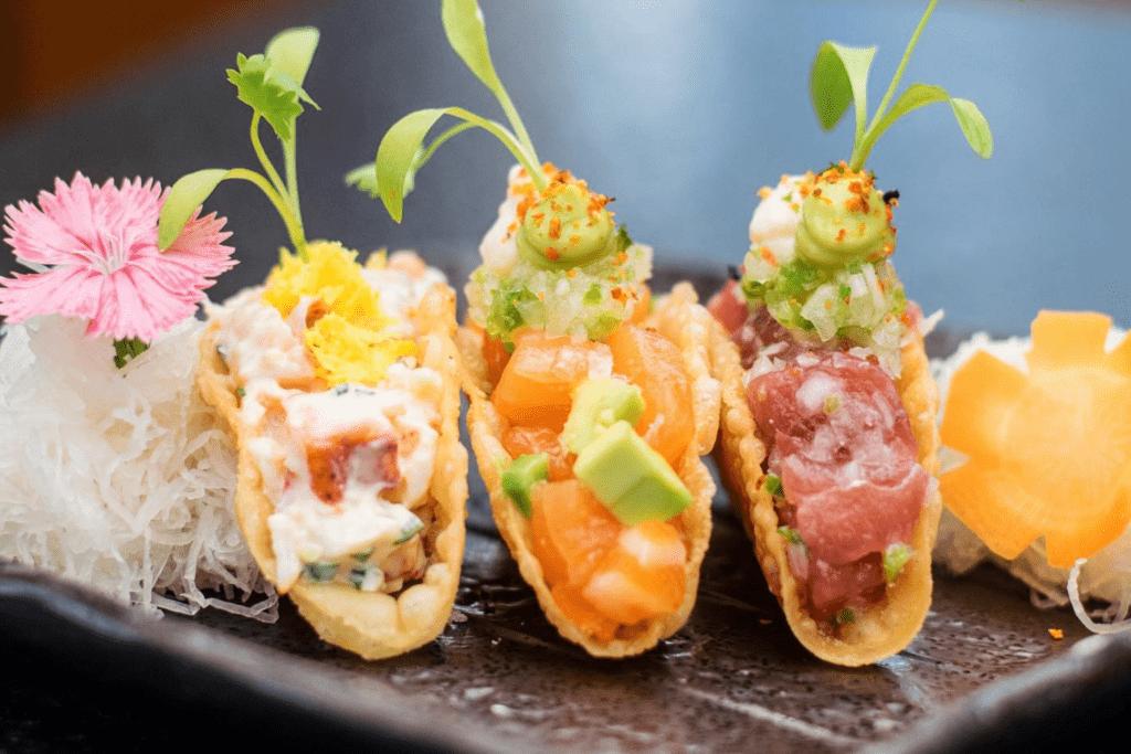 S selection of Nobu tacos