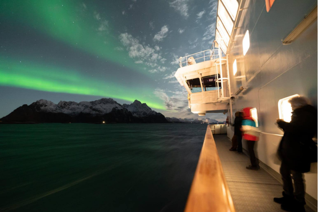 Northern Lights on a boat over the Northwest Passage