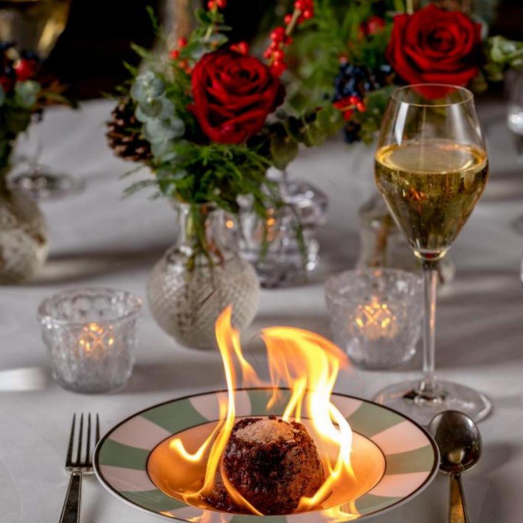 Christmas Day dining - Claridges flaming Christmas pudding