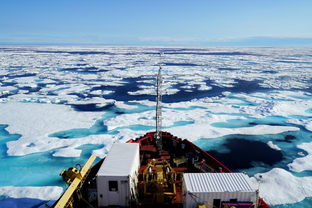 Boat bow on the Northwest Passage