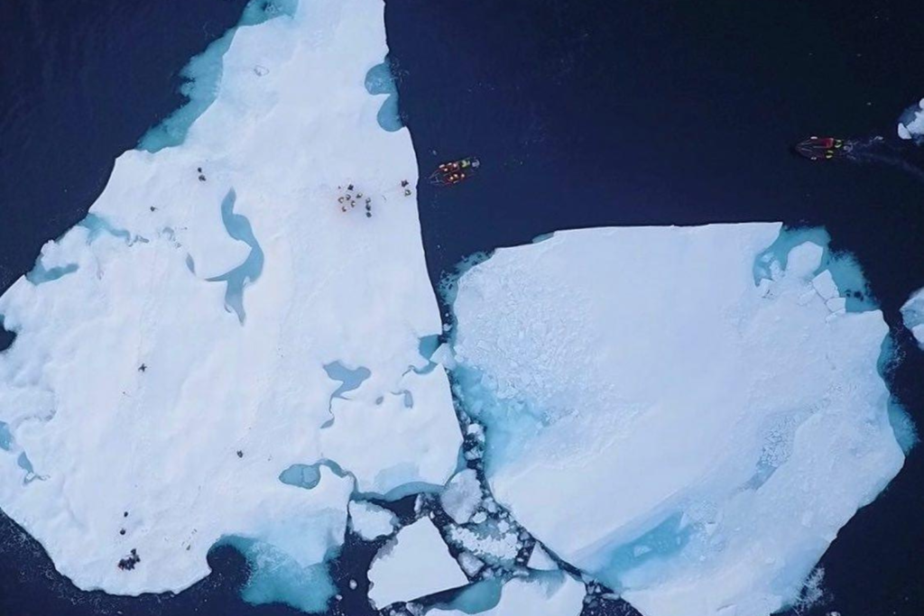Excursion onto the ice drone shot