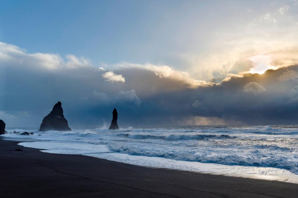 Black-sand Reynisfjara beach, Iceland