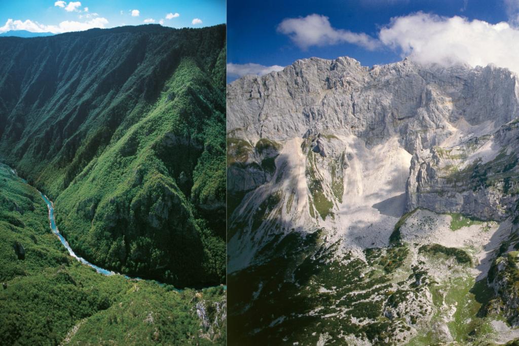 Left: Tara Canyon, Right:  Durmitor National Park