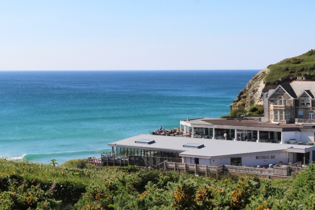 The Watergate Bay hotel overlooking the sea