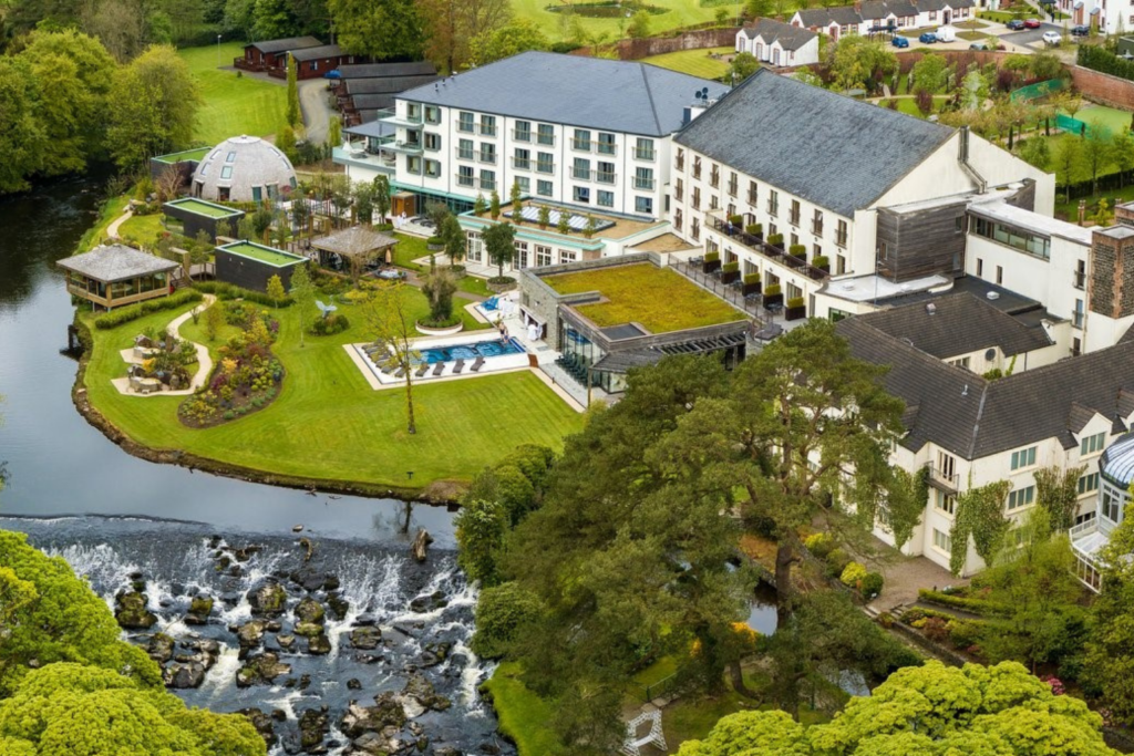 An aerial view of the entire Galgorm Spa and Golf Resort grounds