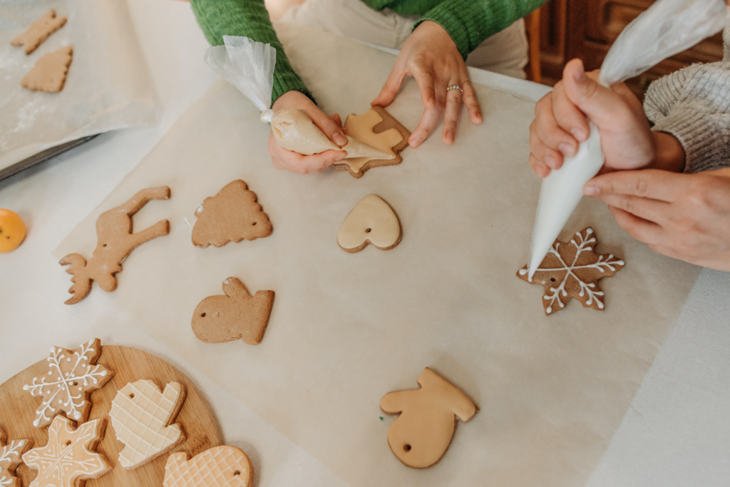 Festive cookies being decorated