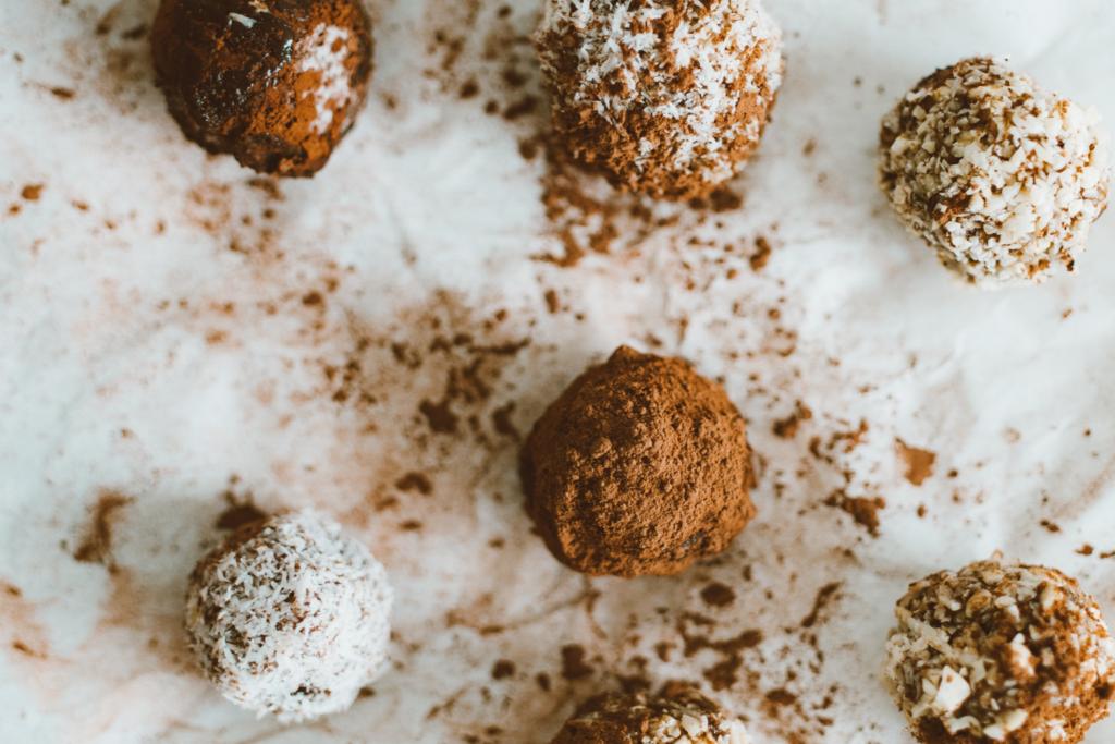 Chocolate truffles on a baking sheet