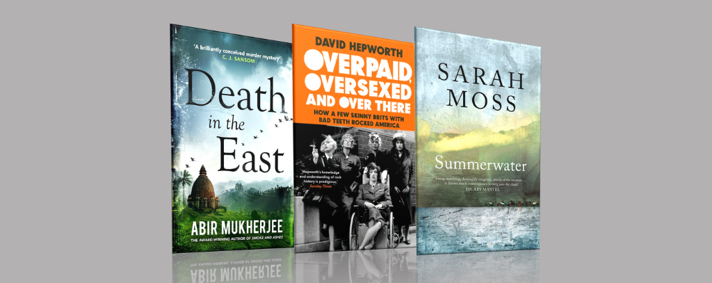 The Book Club book covers (The Death in the East, Overpaid Oversexed and Over There and Summerwater) on a grey background