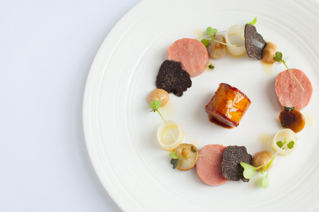 Plate of Michelin star food at Lucknam Park