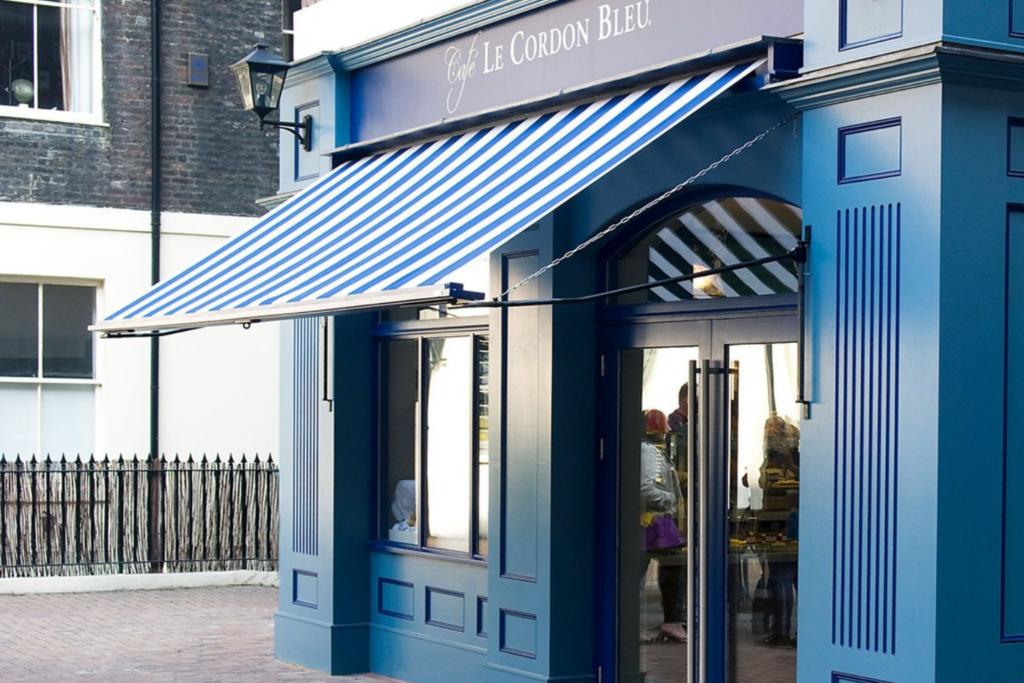 The exterior of the Cordon Bleu Café