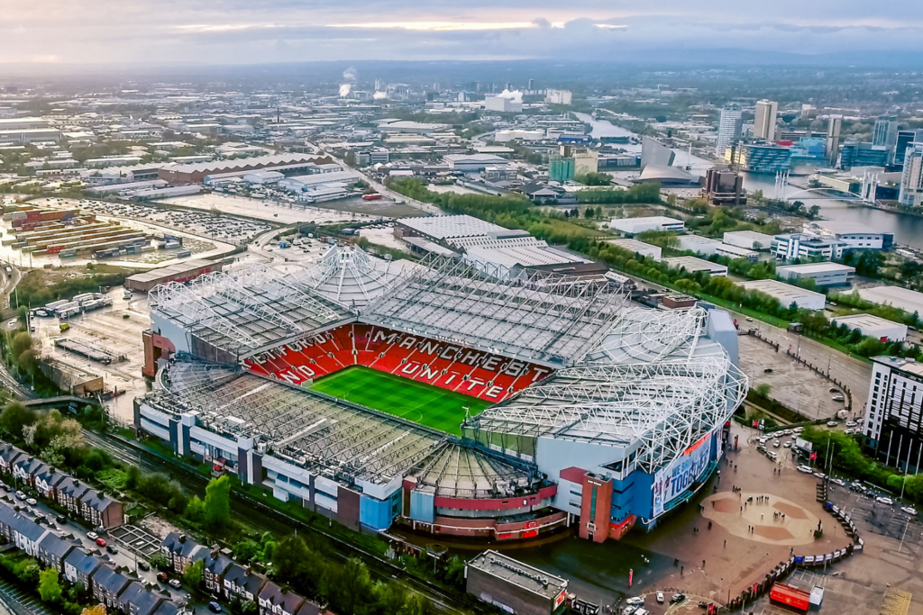 An aerial view of Old Trafford, Premier League team Manchester United's home ground