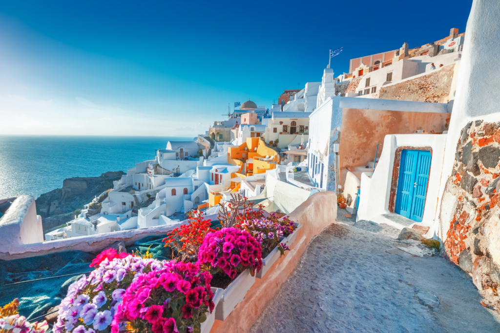 A road of houses on the island of Santorini, Greece