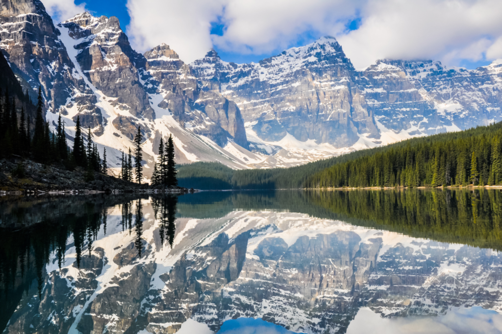 The Rocky Mountains reflected in a mirror lake
