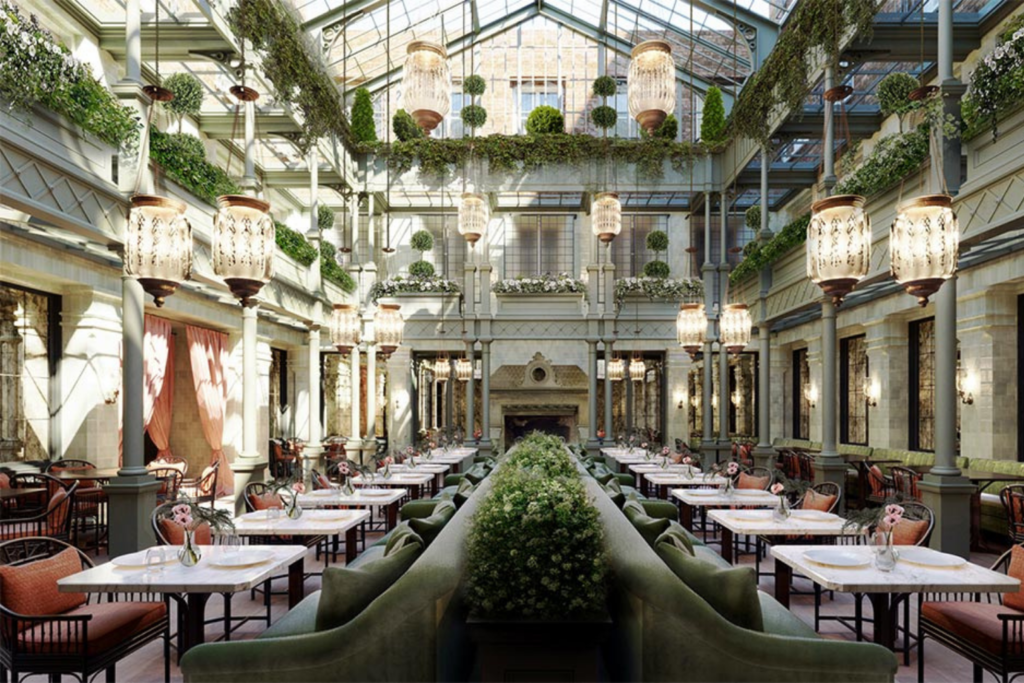 An artist's rendering of one of the new restaurant in NoMad hotel, London