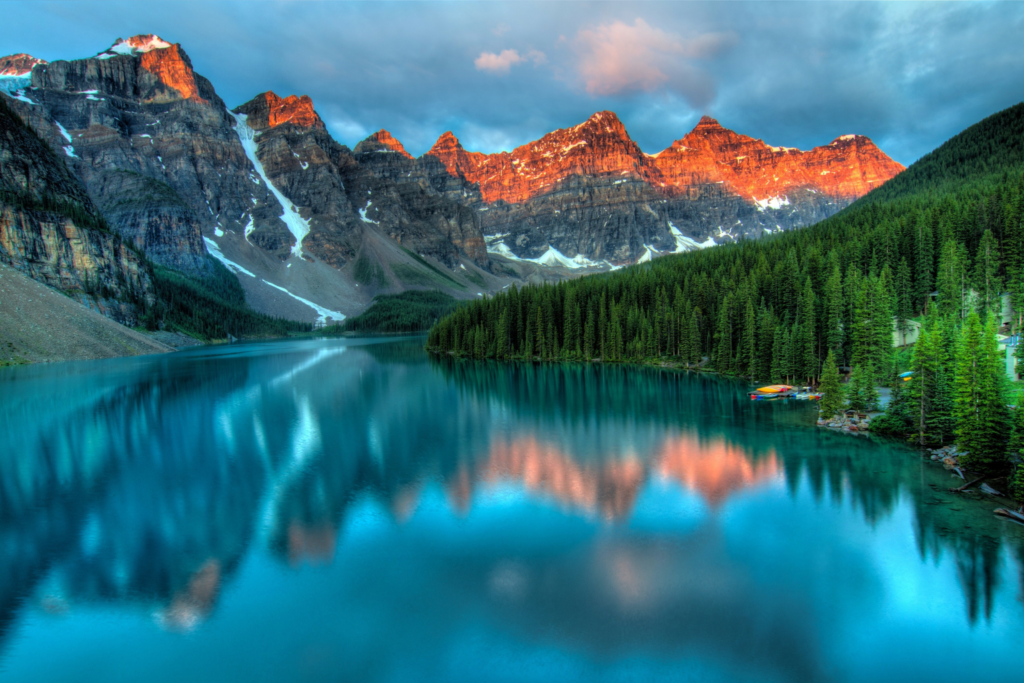 Travel inspiration: The rocky mountains reflected in a lake in Canada