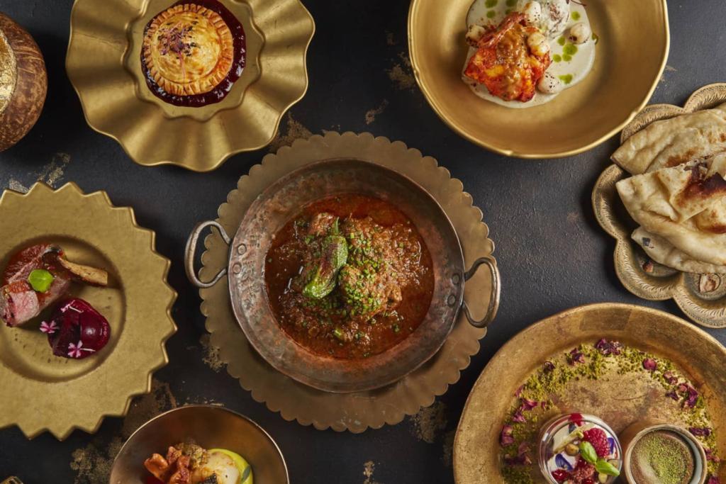Plates of food served at Kanishka,