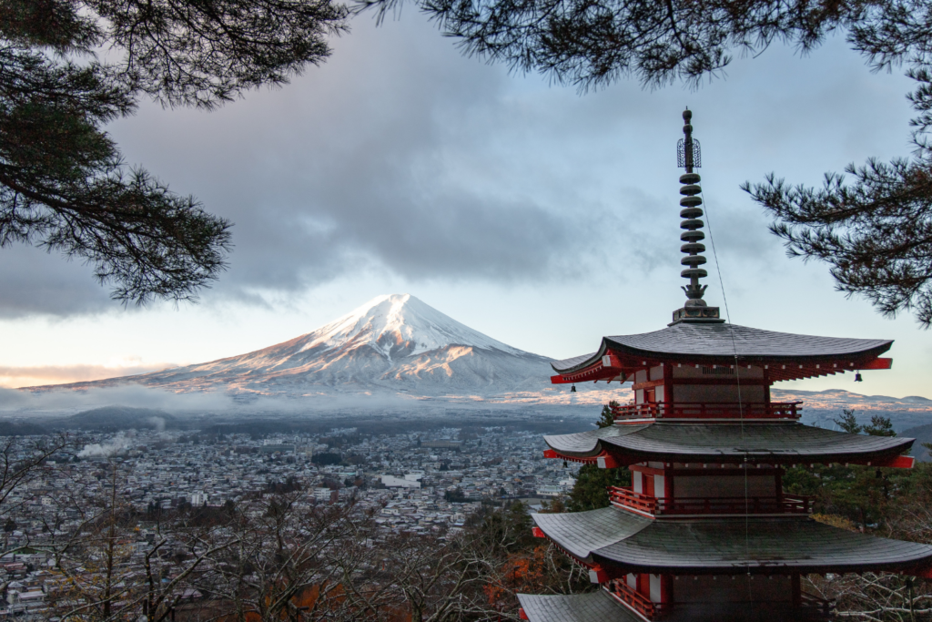 Travel inspiration: a view of Tokyo featuring a pagoda and Mount Fuji