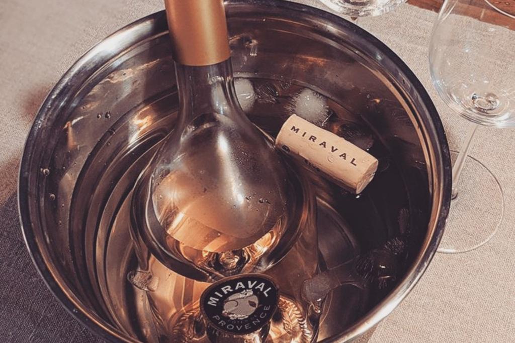 A bottle of Miraval in an ice bucket