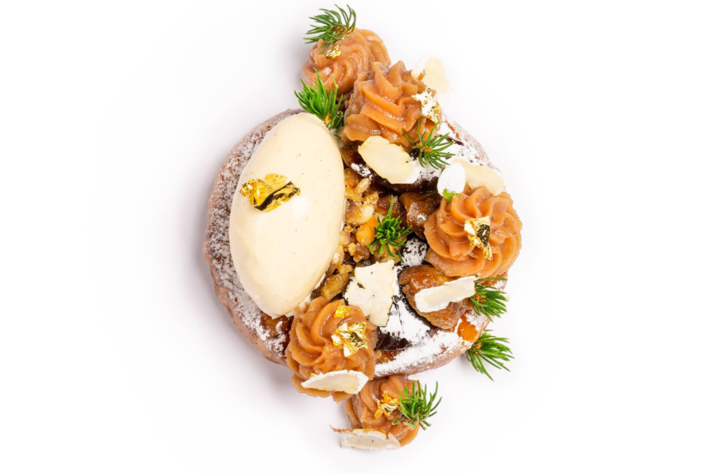 CORE by Clare Smyth Mont Blanc pain perdu with chestnut, pine and vanilla.