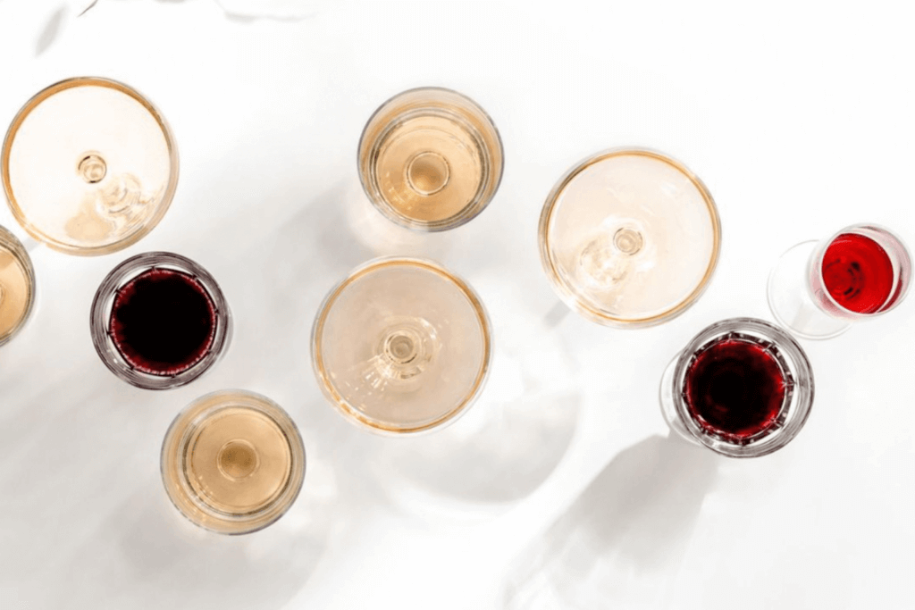 Wine glasses aerial view